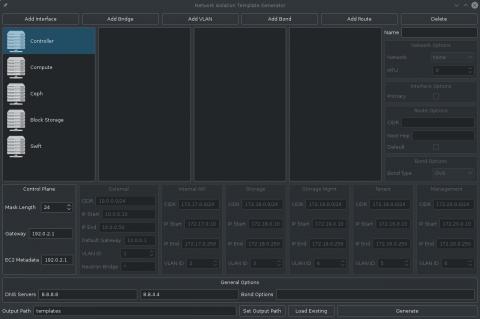 Screenshot of the network template generator tool